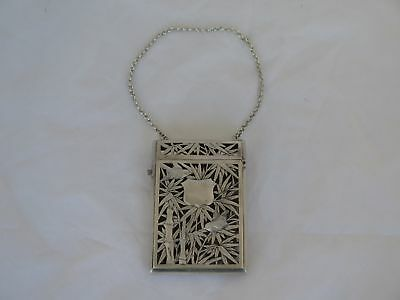 Fantastic Old Chinese Birds & Bamboo Filigree Sterling Ladies Calling Card Case