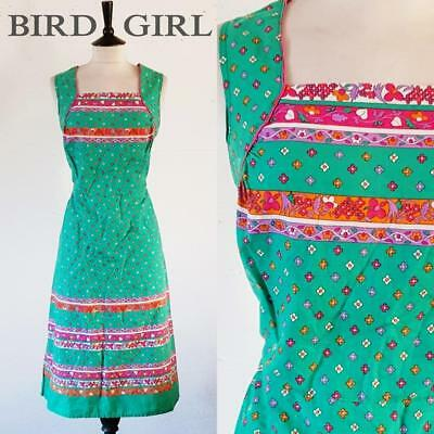 Retro Folk Floral Striped 1970S Vintage Green Cotton Boho Sun Dress 12