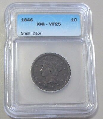 1846 Small Date  Large Cent Icg Vf 25