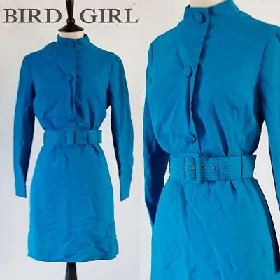 Mod Chic 1960S Vintage Bright Blue Pintuck Button Belted Scooter Dress 12 M
