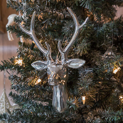 Silver reindeer head xmas wall art hanging tree decoration christmas home stag