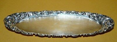 "~VTG~""WHITING""~STERLING~SILVER~REPOUSSE~OVAL~DRESSER~VANITY~PIN~TRAY~5 3/4"" x 2"""