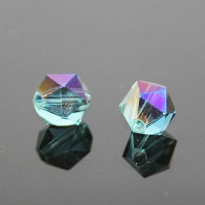 12 Pcs Swarovski 6mm split facet Crystal bead D Sky blue+ plate purple