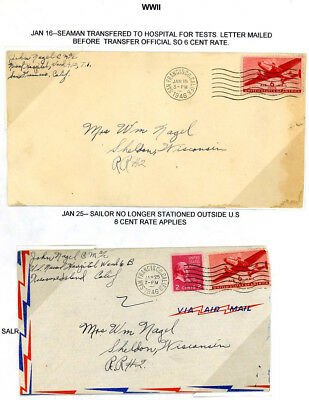 1946 Naval Hospital Treasure Island Ca Covers with Correspondence  J26 16