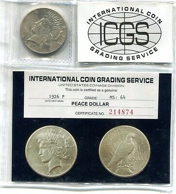 "Docs 1926 ""P"" Peace Dollar ICGS MS 64 - Unique Holder + Free Holiday Shipping!"
