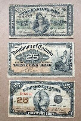 Lot of 3 - 1870 1900 1923 Dominion of Canada 25 cent Bank Note Shinplaster # 4