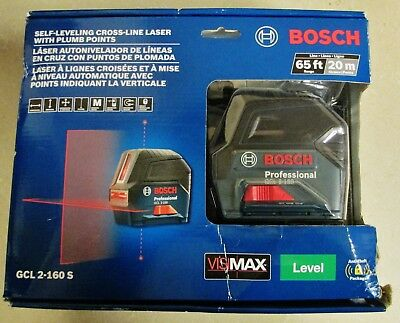 NEW Bosch GCL 2-160 S 65ft Self-Leveling Cross-Line Laser w/ Plumb Points Level