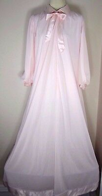 Vintage 60s Lucie Ann Robe Sweeping Pink Satin Trim Tied Neck Zip Front Womens S