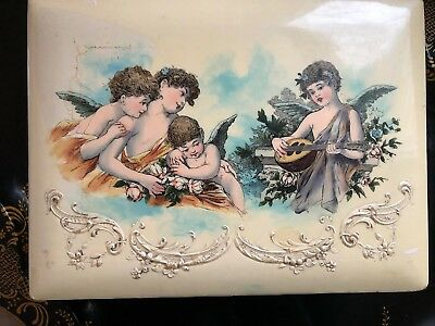 Beautiful Victorian Celluloid Figural Angels Dresser Box Jewelry Vintage Antique