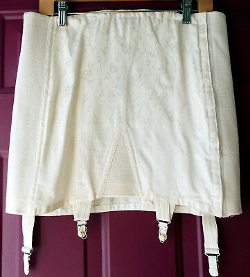 Vintage-New Open Girdle Size 34 2XL Whirl-Eez by Vanity White Floral Shimmer USA