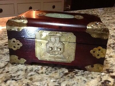 Vintage Chinese Wooden Jewelry Music Box with Brass Accents and Inlaid Jade