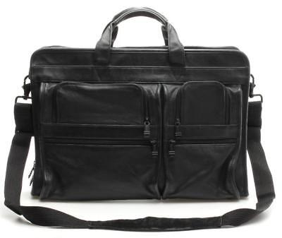 Tumi Black Leather Convertible Expandable Laptop Briefcase