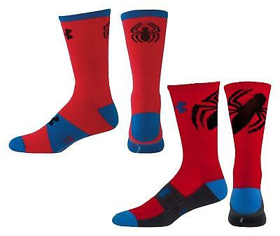 2 Pairs $14 Under Armour Spider-Man Super Hero Big Logo Socks Boys Youth L(1-4)