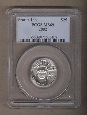 2002 U.S. Platinum Statue of Liberty Eagle $25 Coin PCGS MS 69 1/4 Oz Platinum