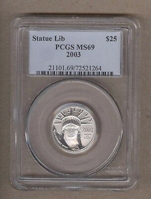 2003 U.S. Platinum Statue of Liberty Eagle $25 Coin PCGS MS 69 1/4 Oz Platinum