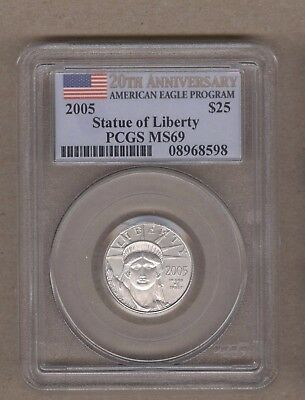 2005 U.S. Platinum Statue of Liberty Eagle $25 Coin PCGS MS 69 1/4 Oz Platinum