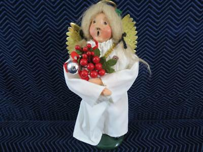 """1990 Byers' Choice Carolers 10"""" Tall Angel with Holly Berries an Wings"""