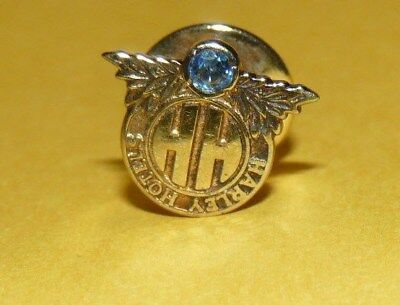 """~Vtg~""""harley Hotels""""~Gold~Wash~Sterling~Silver~Blue~Sapphire~""""hh""""~Tie~Tack~Pin~"""