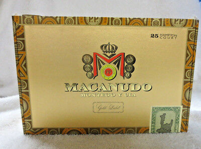 Macanudo Gold Label Hampton Court Paper Covered  Wood Cigar Box - Nice !