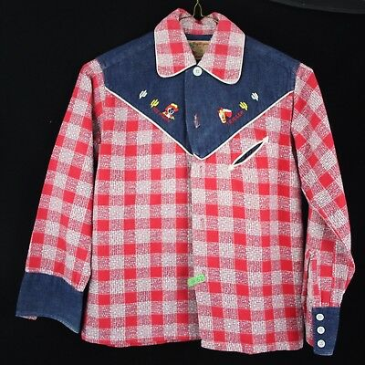 Roy Rogers OFFICIAL Vintage 1950s Child's Western Button Down Shirt Flannel