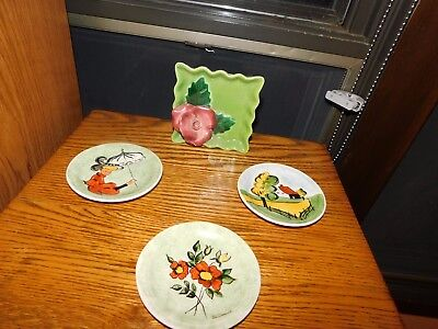 Rose Wall Pocket TLC + Jan Miri Hand Painted Small Plates Victorian Lady Vintage