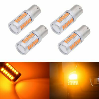 4pcs Amber BA15S P21W 1156 33LED Car Tail Turn Reverse Signal Lights Bulbs