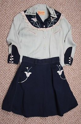DALE EVANS OFFICIAL Vintage 1950's Child's Western Button Down Shirt & Skirt