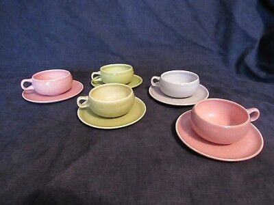 Vintage Lot of 5 Russel Wright Steubenville Assorted Color Coffee Cups/Saucers