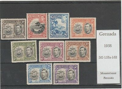 GRENADA 1938 KING GEORGE VI SG153a-162 SELECTION OF MINT PICTORIAL STAMPS
