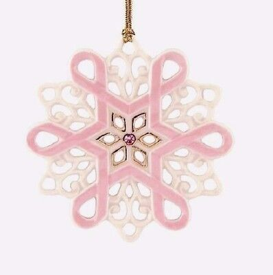 Lenox Gift of Knowledge Breast Cancer Awareness Snowflake Ornament NIB