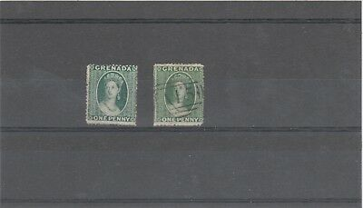 GRENADA 1861 QUEEN VICTORIA 1 X SG2 1d GREEN AND 1 X SG4 1d GREEN  STAMPS