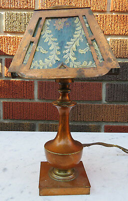 Antique Copper Arts And Crafts Mission Small Table Lamp W Hand Painted Glass