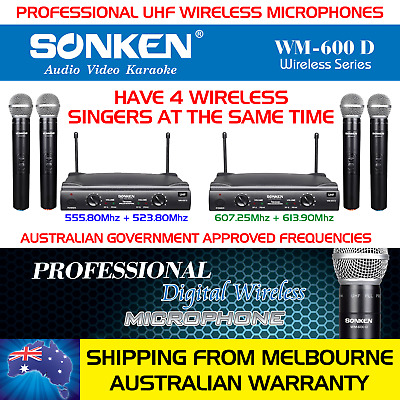 4 Professional Hand Held Wireless Microphones + 2 Receiver Units - Oz Ship/war