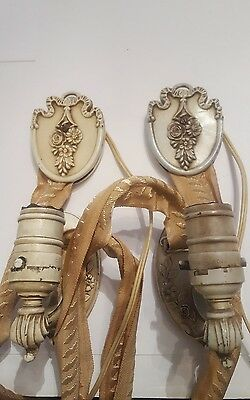 Antique Victorian Pair of LAMP-ETTE Cast Iron Shabby Style Hanging Wall Lamps