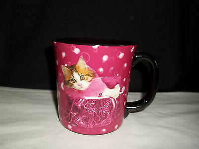 Keith Kimberlin Kitty Cat In Purple Purse Coffee Cup Mug 12 Oz.