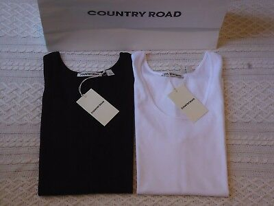 BNWT RRP$60 2PK COUNTRY ROAD  ladies size M 12 SCOOP NECK COTTON TANK TOPS