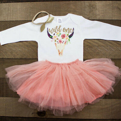 Newborn Baby Girls Horse Long Sleeve Top Romper Tutu Lace Skirt Outfits Clothes