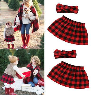 Christmas Newborn Baby Girl Xmas Plaid Skirts Dress Headband Outfits Set Clothes