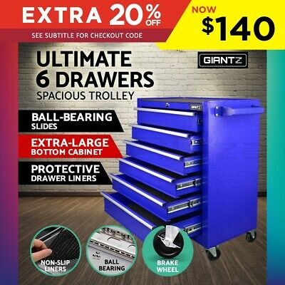 Giantz 6 Drawers Mechanic Toolbox Storage Chest Cabinet Garage Trolley Tool Box