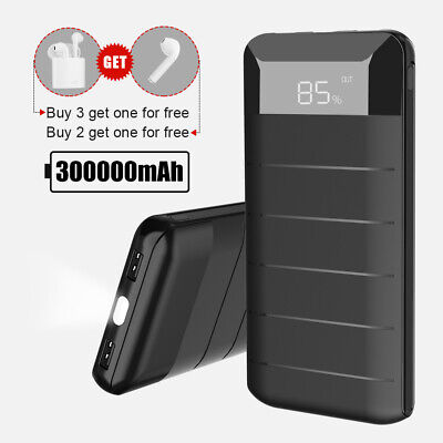 Portable 300000mAh External Power Bank Pack 2USB Battery Charger For Phone UK