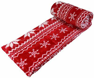 BERGEN CHRISTMAS FLEECE Throw Blanket Nordic Print Red 4040 Magnificent Red And White Christmas Throw Blanket