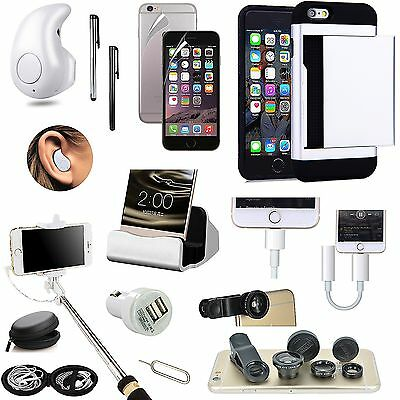 Wallet Case+Bluetooth Earphones+Monopod+Fish Eye+Charger Accessory For iPhone 7