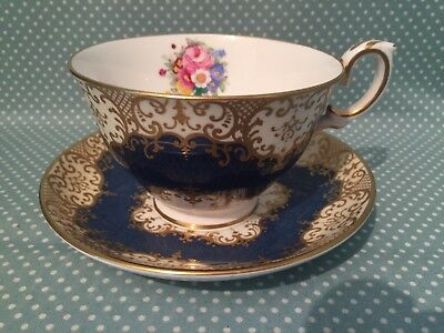 Beautiful large antique Crown Staffordshire cup and saucer. Duo. c1900. A13990.