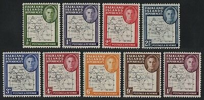 Falkland Dependencies 1946 - Mi-Nr. 1-9 II ** - MNH - Karte / Map (I)