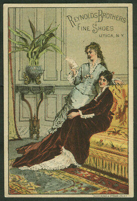Reynolds Brothers Fine Shoes trade card 1880s women with a letter Utica NY