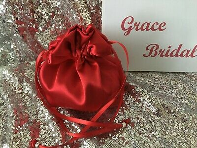 STRAWBERY RED SATIN DOLLY BAG BRIDAL BRIDESMAID FLOWER GIRL BNIP *free samples*