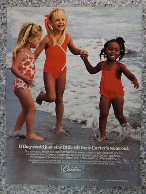 1981 Carter's Children's Clothing Vintage Ad Page Cute Little Girls in Swimsuits