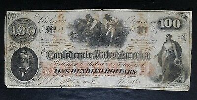 1862 $100 Confederate Note; C.S.A. Currency From Civil War Times