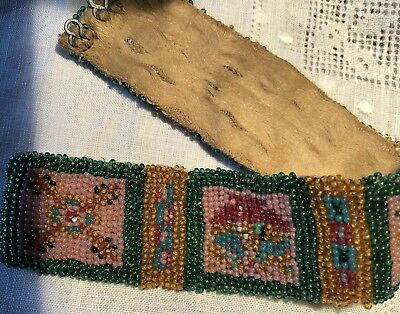 Beautiful Antique c1900 Seed loomed woven Native American wristband bracelet