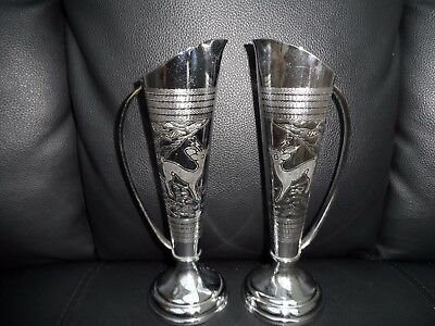 Pair of  Beautiful Art Deco Chrome posy vases with handles decorative Bambies